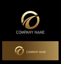 round loop golden business logo vector image