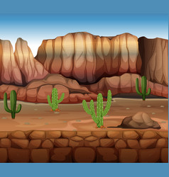 Scene with cactus and canyon vector