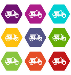 scooter icon set color hexahedron vector image