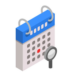 search calendar date icon isometric style vector image