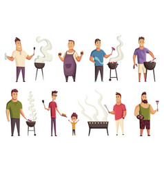 set character on bbq party mans with a vector image