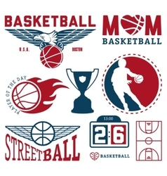 set vintage basketball badges and labels vector image