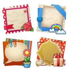 Sets of paper and other items for scrapbooking vector image