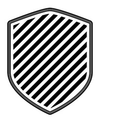 shield with striped in monochrome silhouette vector image
