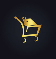 Shopping cart sale gold logo vector