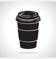 silhouette disposable paper cup with coffee or tea vector image