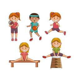 Small group of athletes vector
