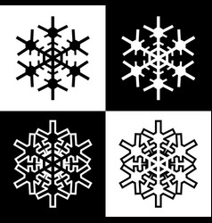 snowflake symbols icons simple black white set 6 vector image