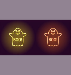 Soaring neon ghost in yellow and orange color vector