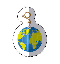 Sticker hanging rope with metal hook and earth vector