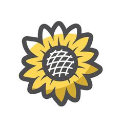 sunflower yellow leaves icon cartoon vector image