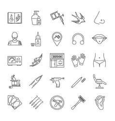 Tattoo studio linear icons set vector