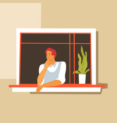 thoughtful man looking out window pensive vector image