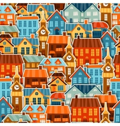 Town seamless pattern with cute colorful sticker vector image