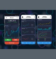 trade exchange app on phone screens vector image