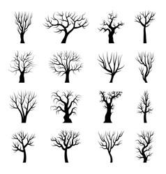 Tree silhouettes winter branches dead autumn vector