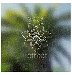 Tropical yoga retreat realistic banner with vector