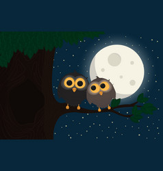 two cute owls sit at branch under the moon vector image