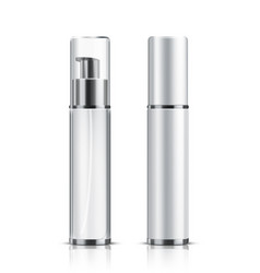 two realistic cosmetic bottle on a white backgroun vector image