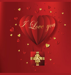 valentines hearts with gift box postcard vector image