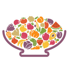 Vase with fruits and vegetables vector