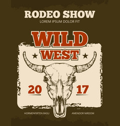 Vintage cowboy rodeo show event poster with vector