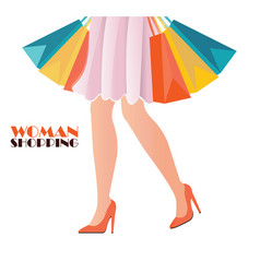waist-down view of shopping woman wearing high vector image vector image