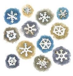 Watercolor Snowflakes Set vector image