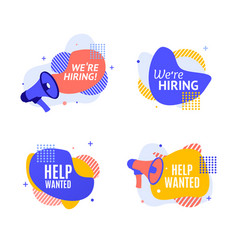 we are hiring concept with abstract memphis style vector image