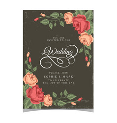 Wedding invitation pink roses dark green backgroun vector