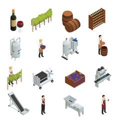 Wine production isometric set vector