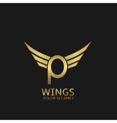 Wings P letter logo vector