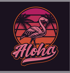 With flamingos in vintage style vector
