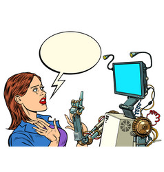 Woman and robot new technologies vector