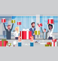 Workers bonus concept cheerful business people vector