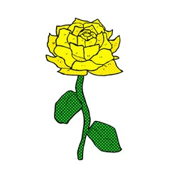 Yellow rose comic cartoon vector