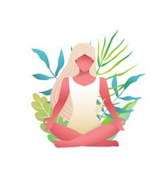 Young beautiful blonde woman practice yoga lotus vector