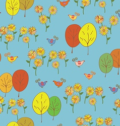 Abstract seamless autumn pattern with birds trees vector image