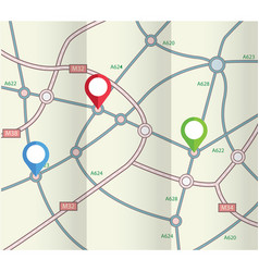 folded abstract road map with markers vector image