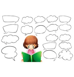 Girl reading and speech bubble templates vector image