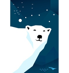 Polar bear with constellation Ursa minor vector image