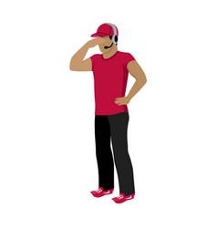 cartoon icon referee in red and black uniform vector image vector image