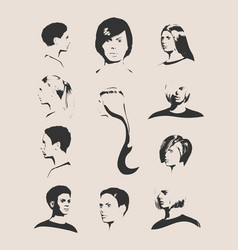 collection of woman silhouettes vector image