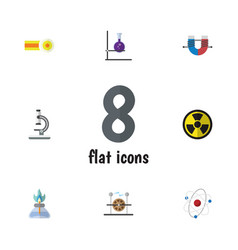 Flat icon knowledge set of glass attractive force vector