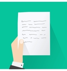Hand holding letter concept of paper message vector image