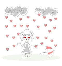 doodle girl with umbrella under rain of hearts vector image