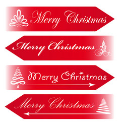 merry christmas road signs arrows message red vector image vector image