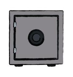 metal bank box closed safe money vector image
