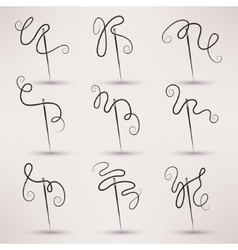 Needle and thread icon set in flat style vector