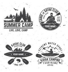 set of kayak club badge vector image
